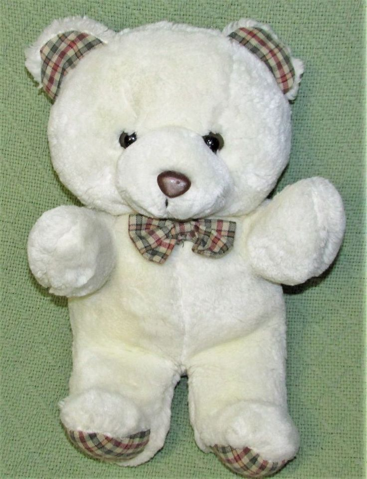 Vintage Gerber PRECIOUS PLUSH Teddy Bear White with Brown Tan PLAID Stuffed Toy #Gerber