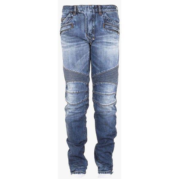 Regular-fit cotton denim biker jeans | Mens biker jeans | Balmain ($1,360) ❤ liked on Polyvore featuring men's fashion, men's clothing, men's jeans, mens biker jeans, balmain men's jeans, mens jeans and men's regular fit jeans