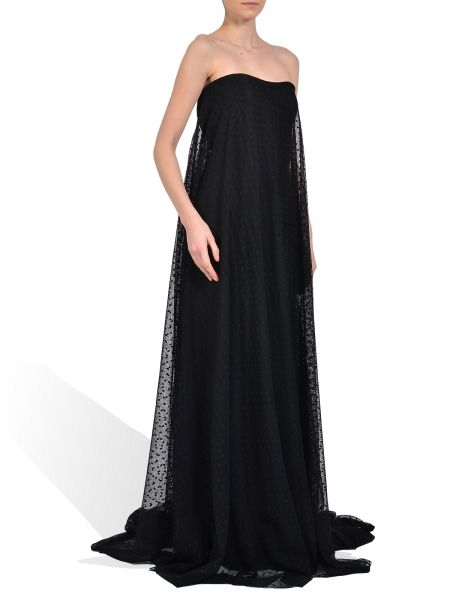 Black polka dots gown, crafted with geometric details back tail and black silk lining. Fabric composition:100% polyamide, 100% silk lining. #parlor #shop #online #fashion