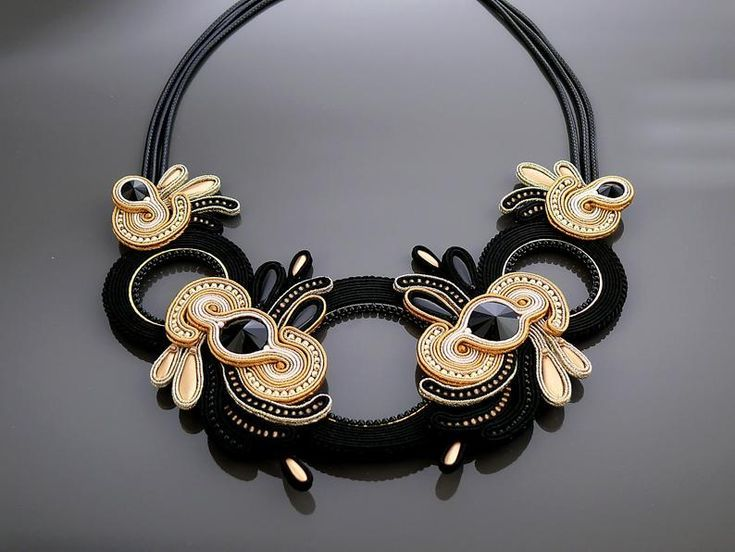 Soutache earrings earrings and asymmetrical black and gray necklace necklace