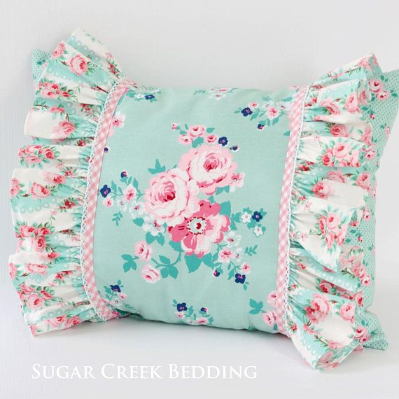 GRETA FLORAL Boudoir Accent Pillow, Girls Custom Bedding, Decorative Pillows, Vintage Style Throw Pillow, Cottage Pillows, Farmhouse Pillows