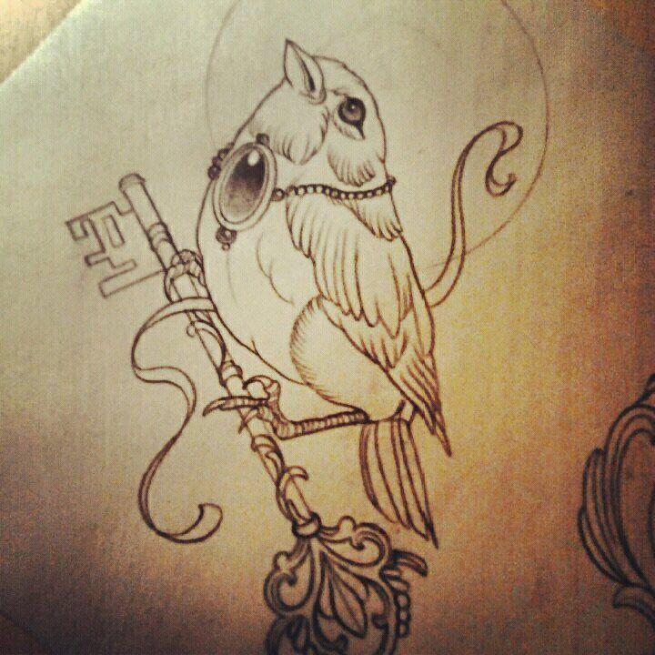 Beautiful Sketch of Bird Tattoo! Vogel mit Schlüssel