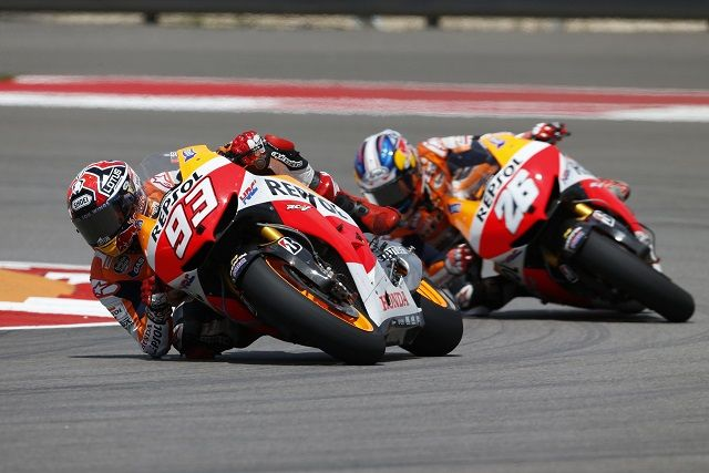Marc Marquez has become the youngest premier class winner in Grand Prix history after proving too strong for his teammate Dani Pedrosa at the Circuit of the Americas.