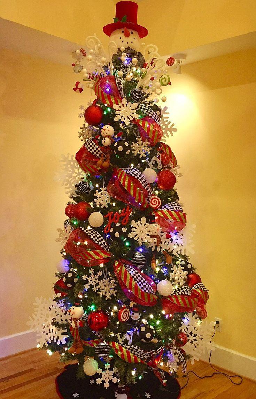 Snowman theme!!! My 2016 tree | Ribbon on christmas tree ...