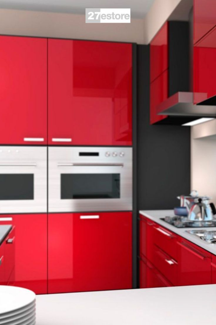 High Gloss Polyester Red Cabinet Doors Colorful Kitchens In 2020 Red Cabinets Kitchen Cabinet Colors Kitchen Cabinet Trends