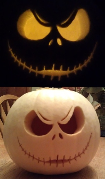 Halloween carving - I bought a white pumpkin & carved Jack Skellington 2012 - jack-o-lantern -- created by Tanya