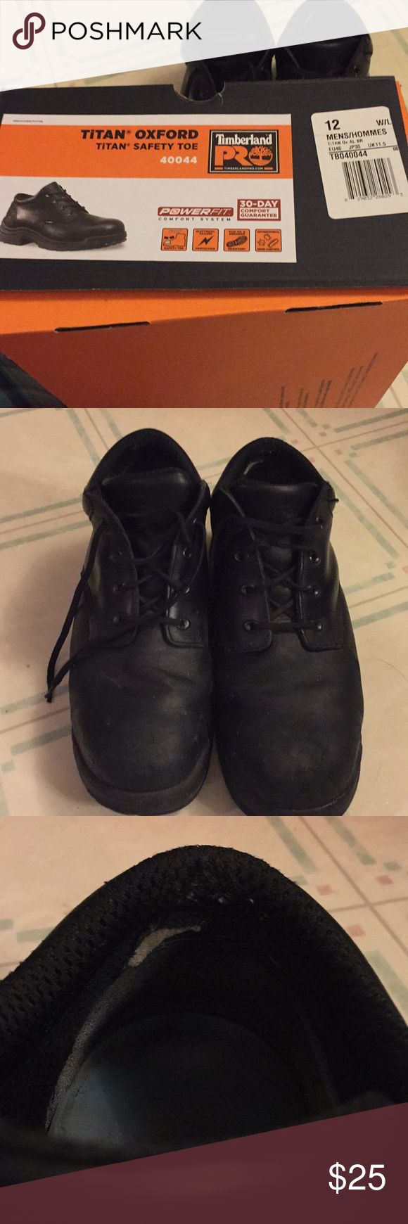 Timberland Safety Toe Shoes Good used condition. Comes with brand new soles. Scuff marks and some wear on the inside heel. Comes with box. Timberland Shoes Oxfords & Derbys