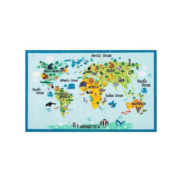 nuLOOM Giza Animal World Map Rug, Blue