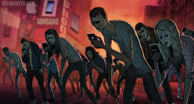The illustrator and animator Steve Cutts from London shows us the true view of the world today. Smartphones have killed us …
