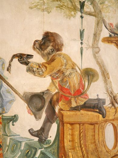 Detail of mural with monkey, Grande Singerie, Château de Chantilly
