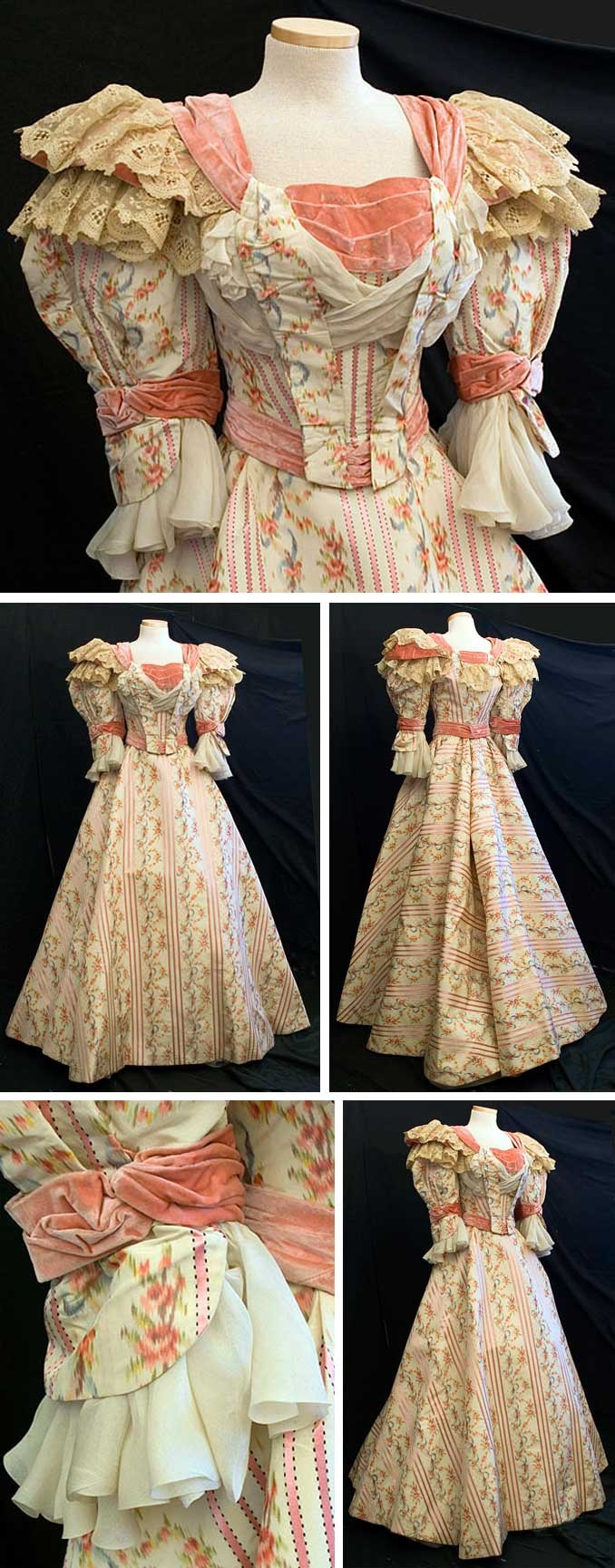 Gown, Fox Sisters, New York, ca. 1895. Silk faille combines ribbon-weave satin stripes with watered silk flowers. Fabric embellished with pink velvet trim and flounces of beige lace and ivory silk chiffon. Both pieces lined with ivory taffeta. Boned bodice closes in front with hooks and has little sachet packets inside front. Skirt hem stiffened to hold shape, closes in back with hooks and hooks to bodice. The Fox sisters made dresses for the cream of society.Vintage Textile via…
