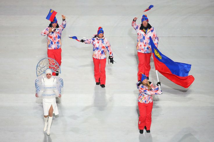 The Liechtenstein Olympic team during the opening ceremony of the Sochi 2014 Winter Olympics.