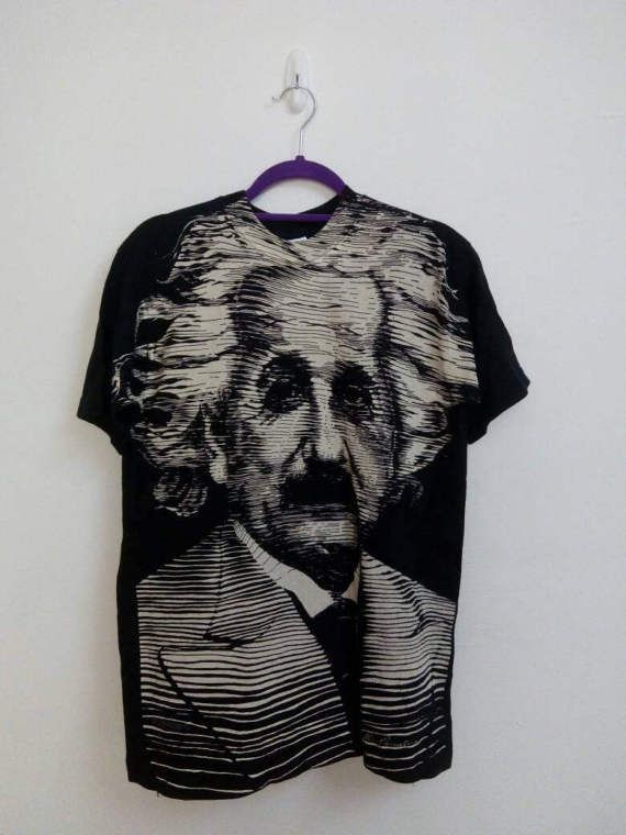 Rare Vintage 90s Albert Einstein Full Print All Over Print Used Clothing Vintage Tshirts Print T Shirt