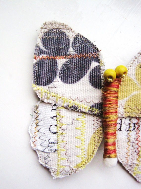 Grey and Yellow Fabric Butterfly by Hannah Longmuir