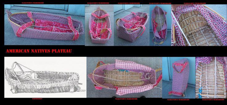 Culla Nlaka'pamux a forma di cesto a maglie larghe. Tra i Nlaka pamux, come presso altre etnie del Plateau, si usavano culle da trasporto di modello diverso a seconda delle esigenze a cui servivano.