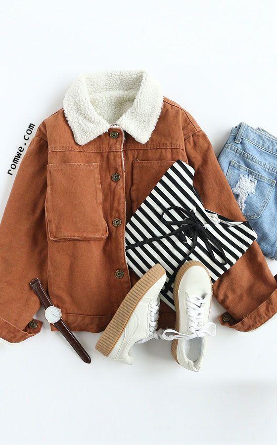 Khaki Single Breasted Sherpa Lined Jacket