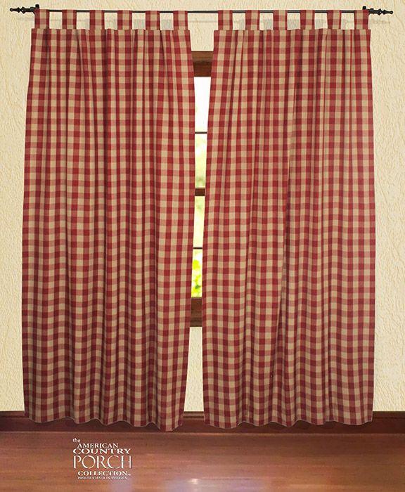 Wine Teadyed Buffalo Check Tab Top Window Curtain Panels