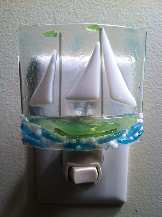 Free Spirit Sailing Fused Glass Night Light by Marusca on Etsy, $27.00