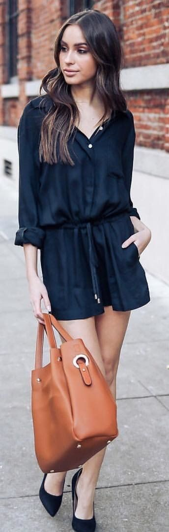 #winter #outfits black romper shorts