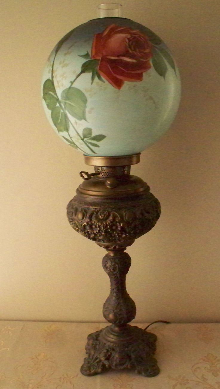 Vintage owl lamps - Reserved 4 Bluecarriage Antique Brass Banquet Lamp Or Stick Lamp Hand Painted Roses Gwtw Globe Electric Conversion 1800 S