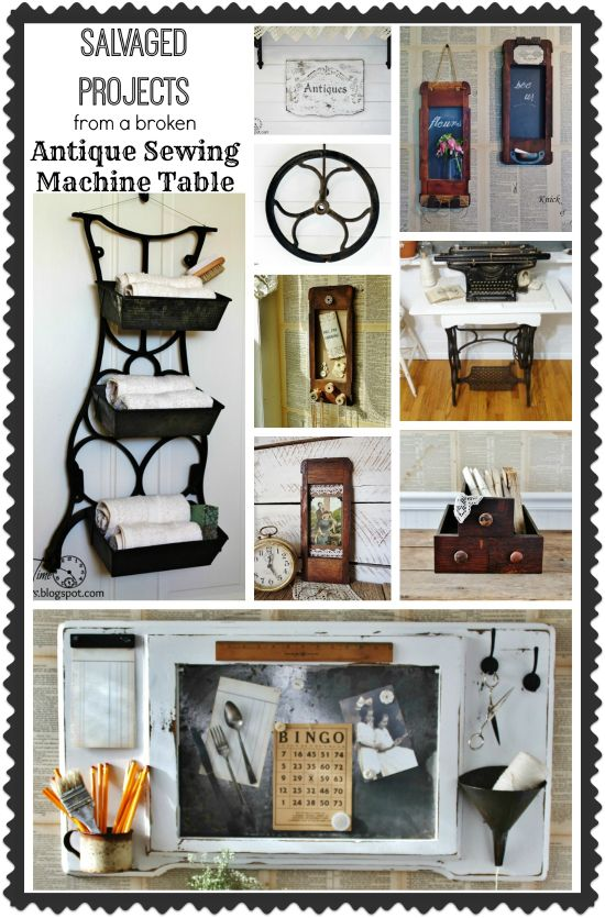 Repurposed Antique Sewing Machine Table Projects by knickoftimeinteriors.blogspot.com