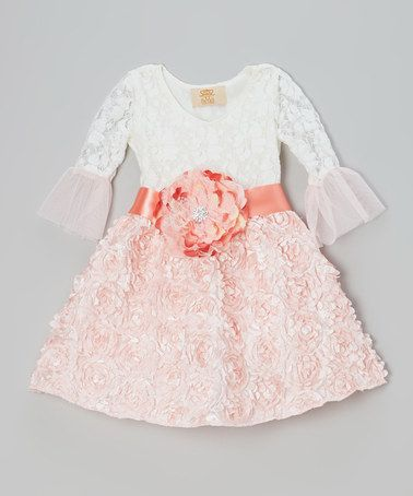 Mia Belle Baby Cr 232 Me Amp Pink Lace Rosette Dress Toddler