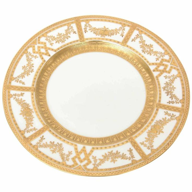 12 Antique English Dinner Plates with Raised Tooled Gold, Hand Decorated 1