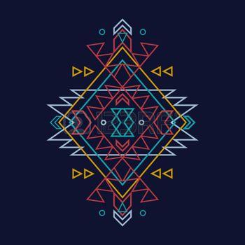 motif broderie: Vecteur coloré motif ethnique décoratif