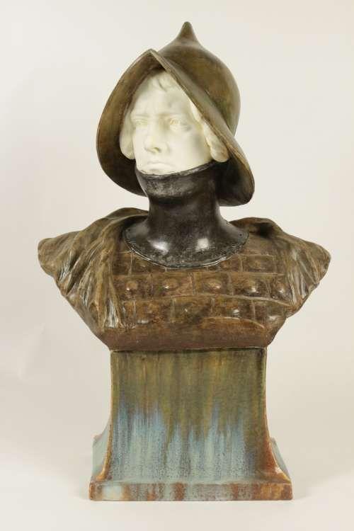 Très beau buste de soldat romain de Goldscheider en terre cuite, circa 1900