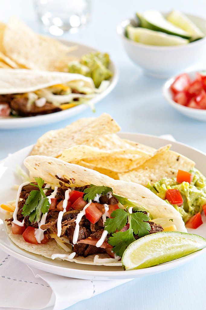 Get the recipe: slow-cooker Chipotle-style barbacoa tacos Image Source: My Baking Addiction