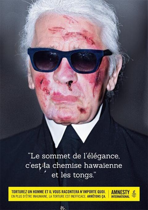 """Campagne Amnesty International """"StopTorture!"""" - Karl Lagerfeld  http://www.emerveille.fr/amnesty-stop-torture/"""