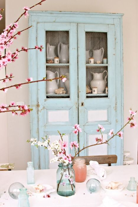 Vintage Rose: Cherries Blossoms, Decor, Cabinets, Dreamy White, Idea, Shabby Chic, Colors, Cupboards, Robins Eggs Blue