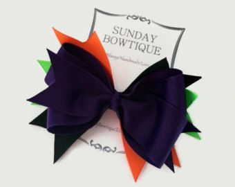 Arco del pelo de bruja arco apiladas Boutique, Boutique arco, arco del pelo verde morado naranja neón negro, Halloween arco del pelo, pelo púrpura arco, arco