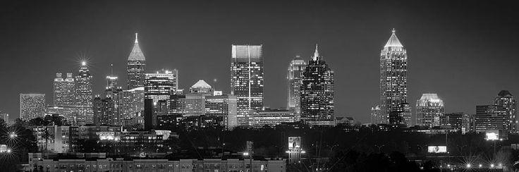 Black And White Photo Of Atlanta Skyline Atlanta Skyline