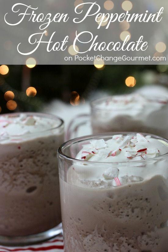 Frozen Peppermint Hot Chocolate | Recipe on PocketChangeGourmet.com