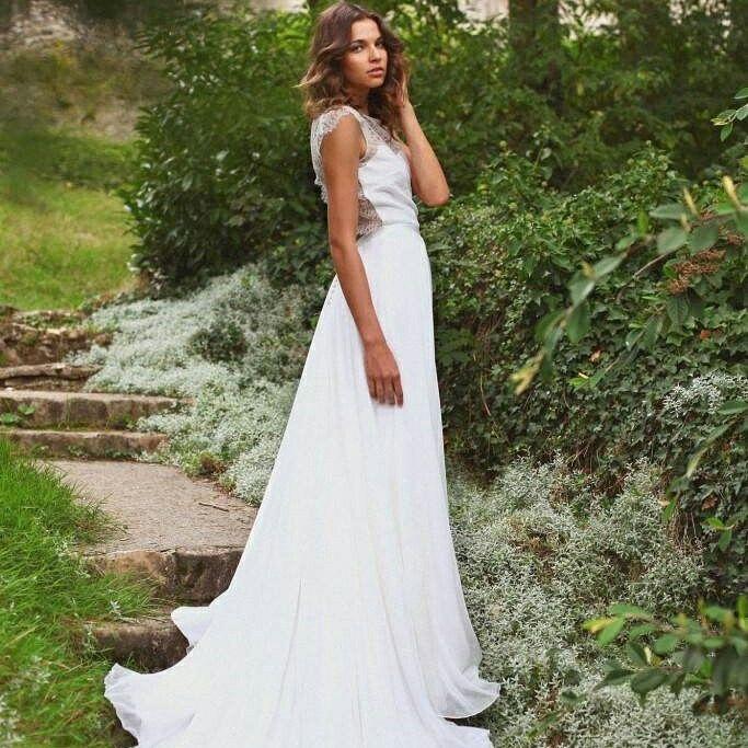 robe de marie adeline bauwin modle rose dos nu dentelle - Complicit Mariage Robe Cocktail