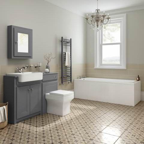 1700mm Cambridge Traditional Straight Bath & Gloss Grey Combined Vanity Unit Suite - Belfort Pan