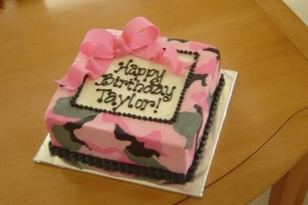 "Girls Camo Birthday Party | Did this cake for a girls ""camouflage"" birthday party."