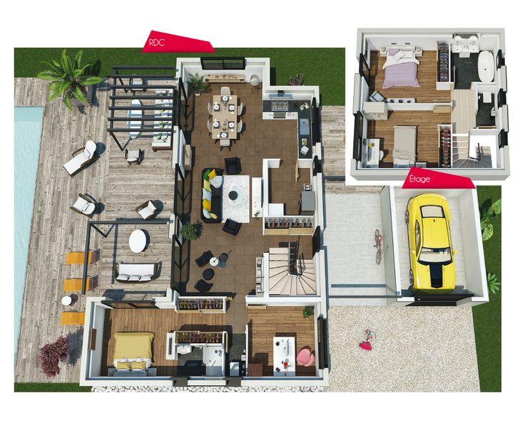 Les 25 meilleures id es concernant plan maison 120m2 sur for Les plans des villas modernes