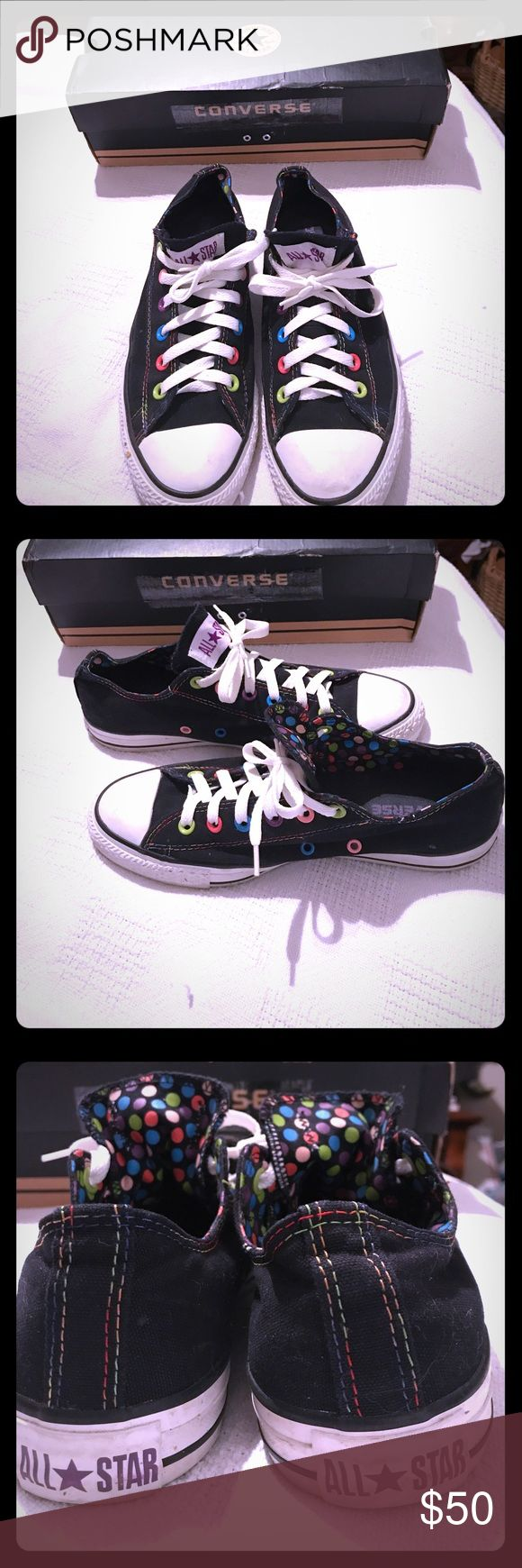 NWOT CONVERSE MEN 7/WOMEN 9 BLACK WITH POLK A DOT NWOT CONVERSE SHOES MEN 7 OR WOMEN 9 BLACK WITH POLK A DOT TOUNGE AND INSIDE! PRETTY! (HAVE BOX) Converse Shoes Sneakers