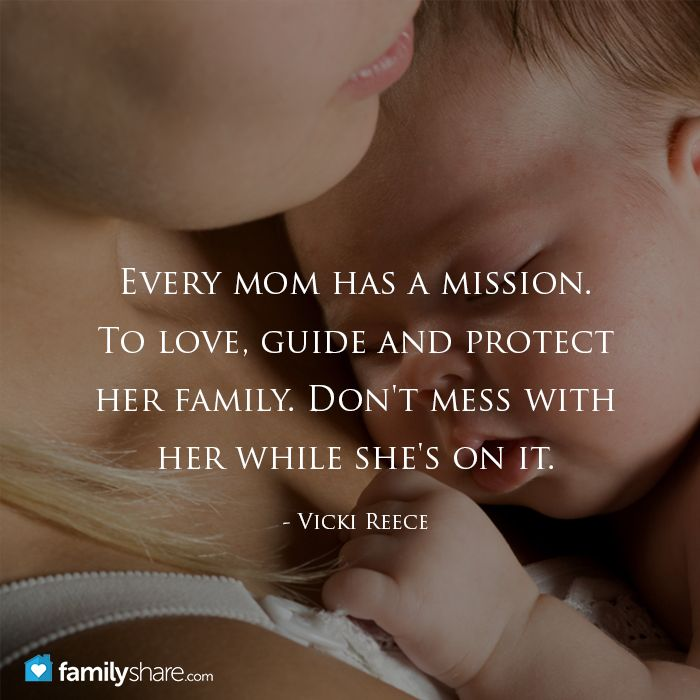 Every mom has a mission. To love, guide and protect her family. Don't mess with her while she's on it. - Vicki Reece
