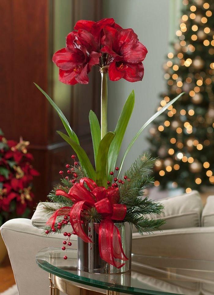 rote Blumen Tisch Deko Ideen Schleife