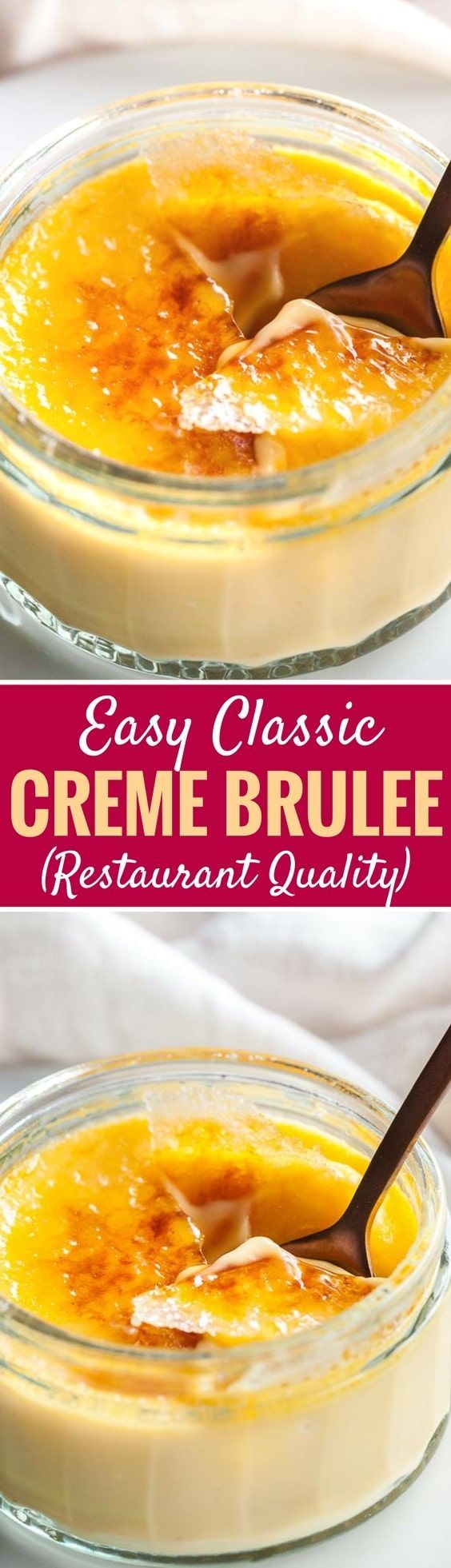 Easy Creme Brulee is the perfect make-ahead dessert that will impress your guests! A silky, smooth vanilla custard topped with a layer of brittle caramel, that is easier to make at home than you think. This classic French dessert is very do-able and so delicious! #cremebrulee #desserts #frenchcuisine #easydesserts