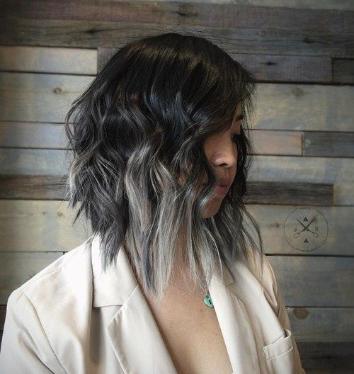 love 1 (medium choppy cut with ash ombre), 12 (violet & silver balayage), 13 (gray balayage for long black bob)