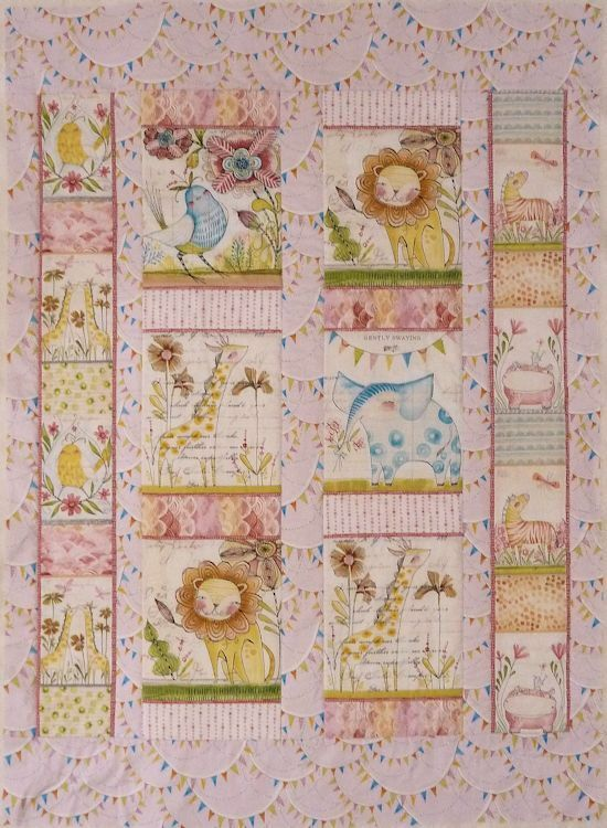 JUST MADE: Menagerie Pink Nursery Quilt kit. A Lovely quick make for a newborn, using panels and co-ordinating fabric all washed and precut from Cori Dantini's Hello World range. Also available in blue.