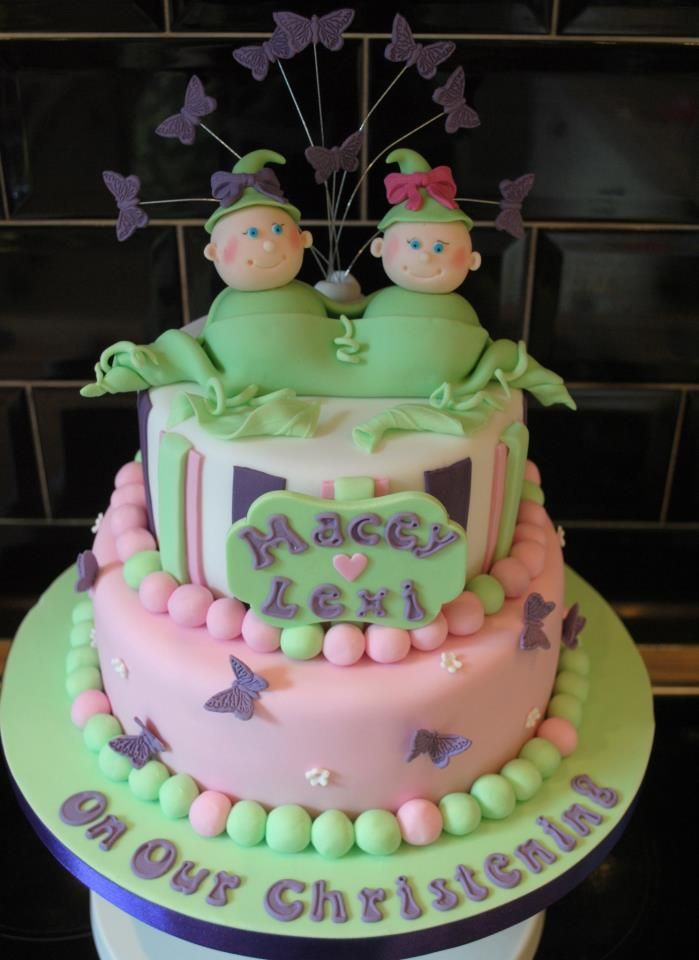 2 Pea's in a Pod Christening Cake for Twins
