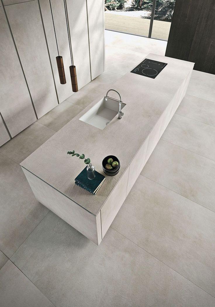 Ein minimalistischer Traum: Polierte Kunst-Materia-Küche für das Stadthaus