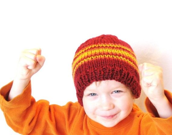 knit kids hat  fire and flames cranberry red by BaruchsLullaby,