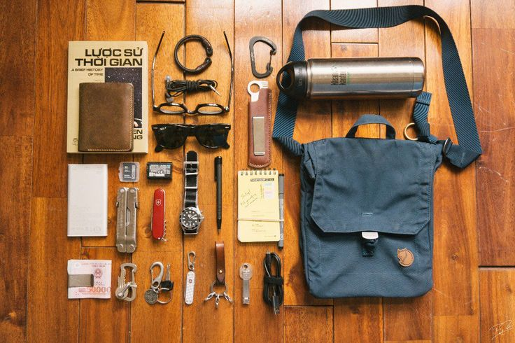 Summer EDC  submitted by Thanh Nguyen  A book  RHA S500  Moscot Lemtosh  Rayban Wayfarer 2140  Klean Kanteen Wide Mouth Insulated Water Bottle with Loop Cap (20-Ounce)  Fjällräven Foldsack No. 3  Orient ray and nato strap  Victorinox Huntsman  Leatherman Supertool 300