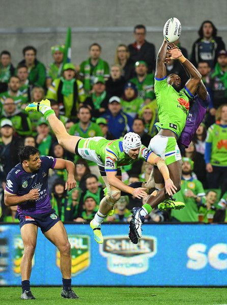 Edrick Lee of the Raiders attempts to catch the ball during the NRL Preliminary Final match between the Melbourne Storm and the Canberra Raiders at AAMI Park on September 24, 2016 in Melbourne, Australia.
